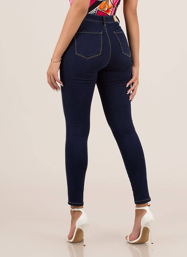 You Need Me High-Waisted Skinny Jeans DKBLUE