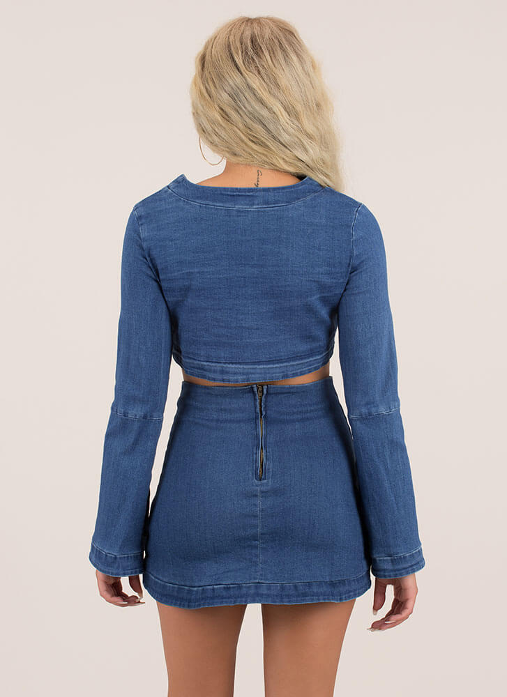 Date Night In Denim Top And Skirt Set BLUE