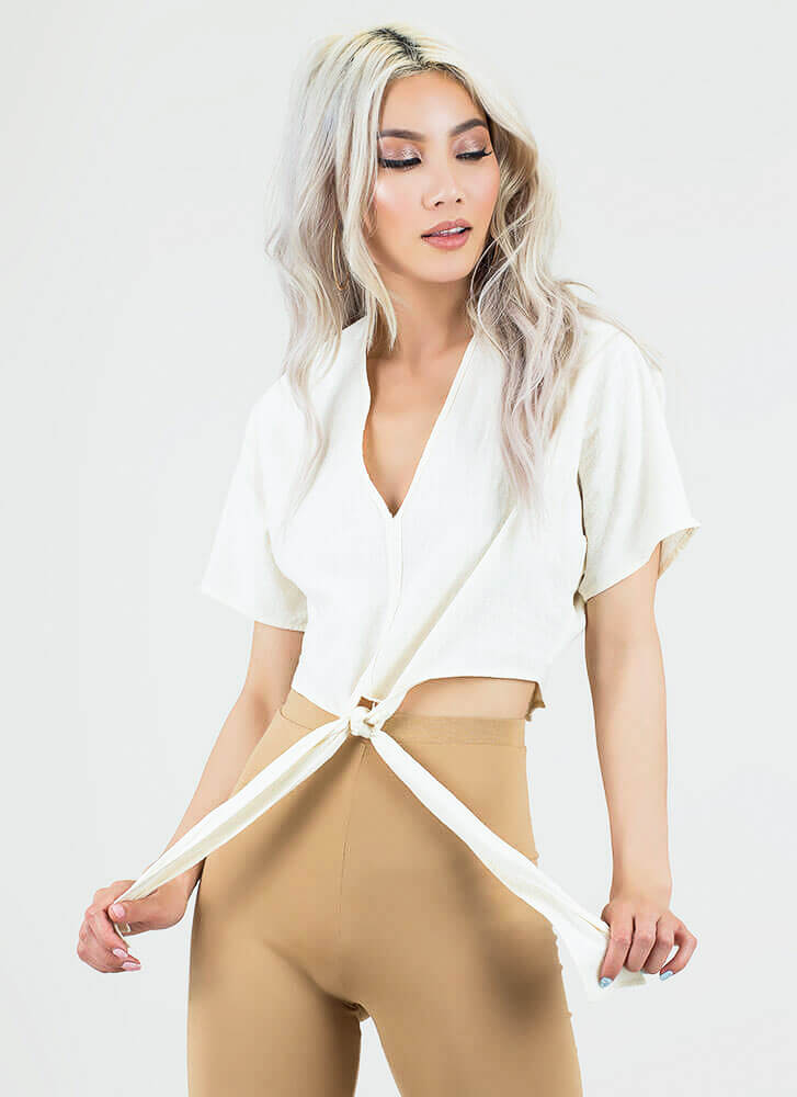 Ready Set Bow Tied Dolman Crop Top CREAM