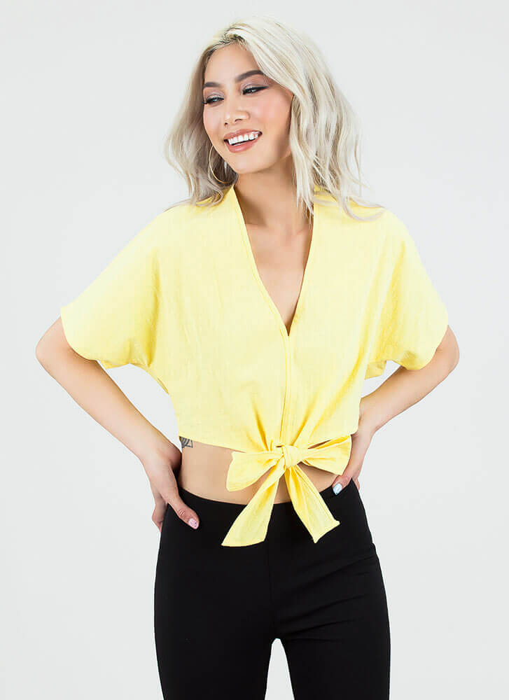 Ready Set Bow Tied Dolman Crop Top MUSTARD (You Saved $13)