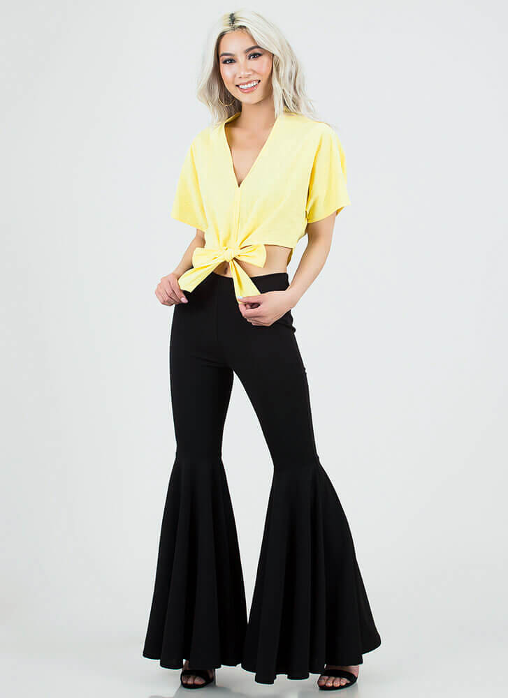 Ready Set Bow Tied Dolman Crop Top MUSTARD