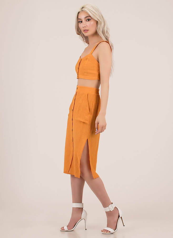 Chic As A Button Top And Skirt Set LTORANGE