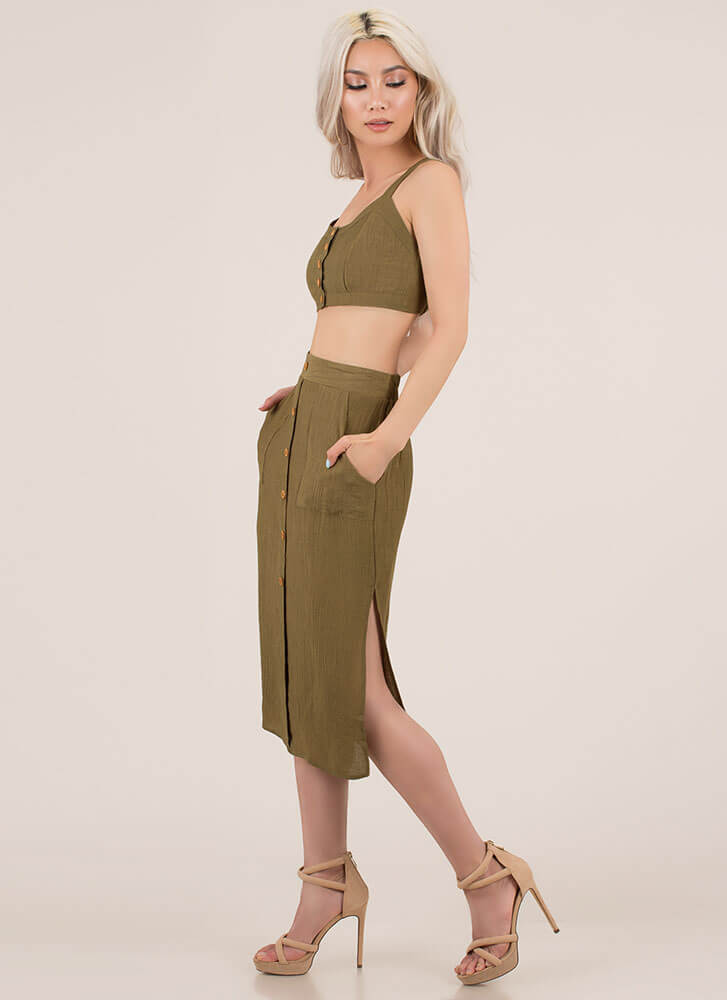 Chic As A Button Top And Skirt Set OLIVE