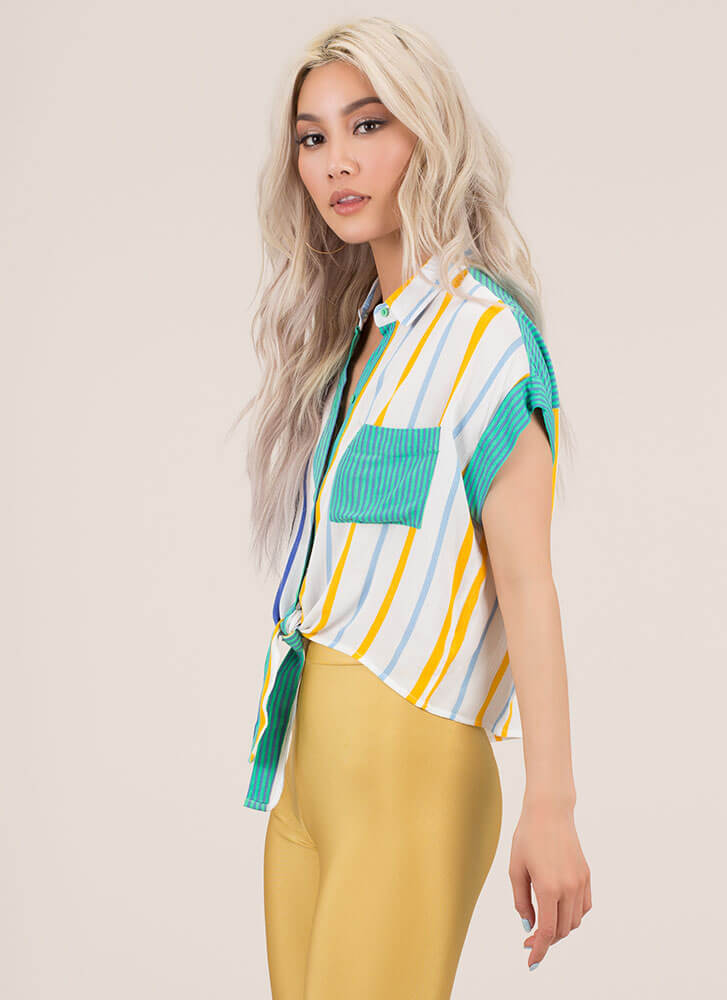 Fun Times Knotted Striped Blouse BLUE