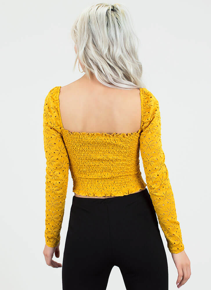 Open Your Eyelets Smocked Crop Top MUSTARD
