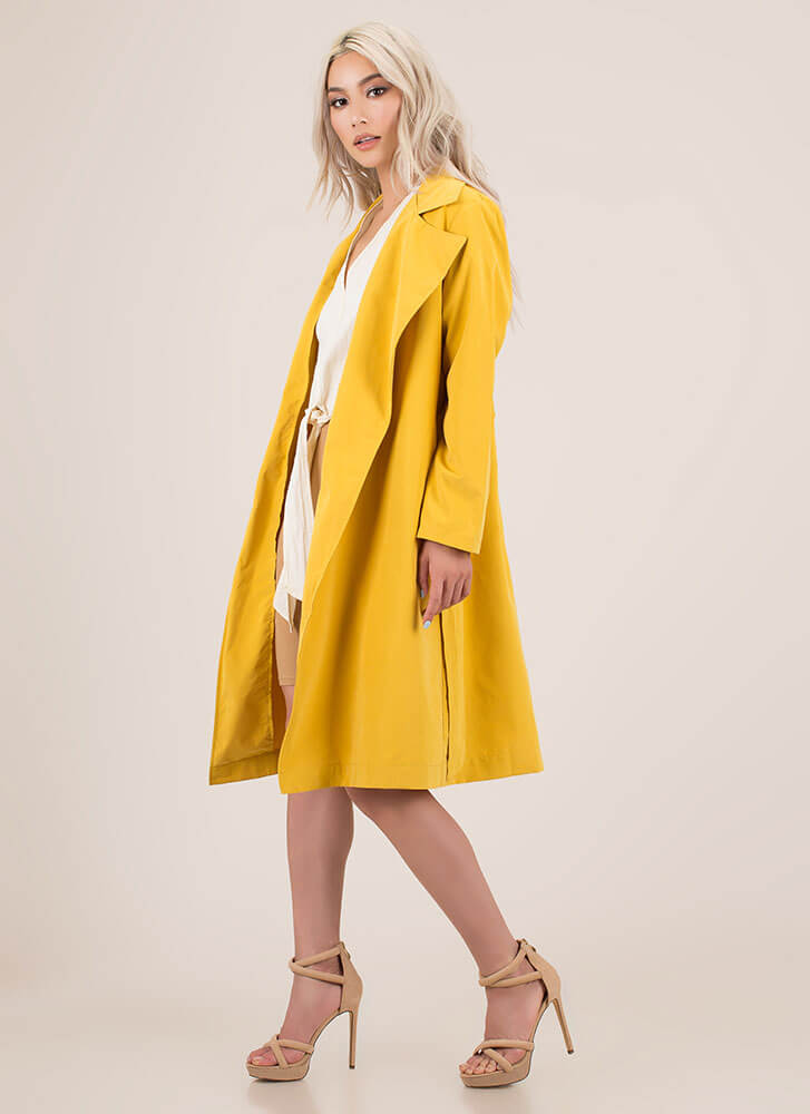 Jetsetter Style Belted Trench Coat MUSTARD