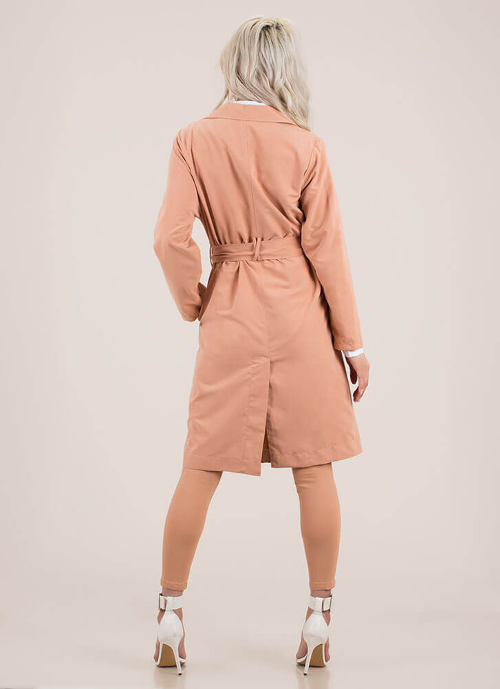 Jetsetter Style Belted Trench Coat SALMON