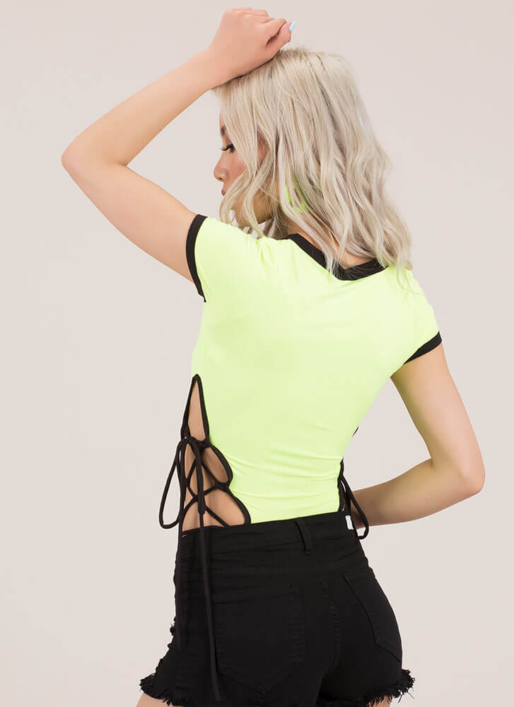 The Final Cut Lace-Up Thong Bodysuit NEONGREEN
