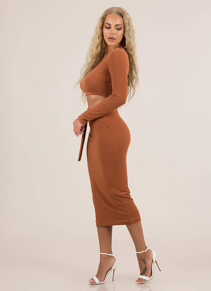 Belted Babe Rib Knit 2-Piece Dress TERRACOTTA