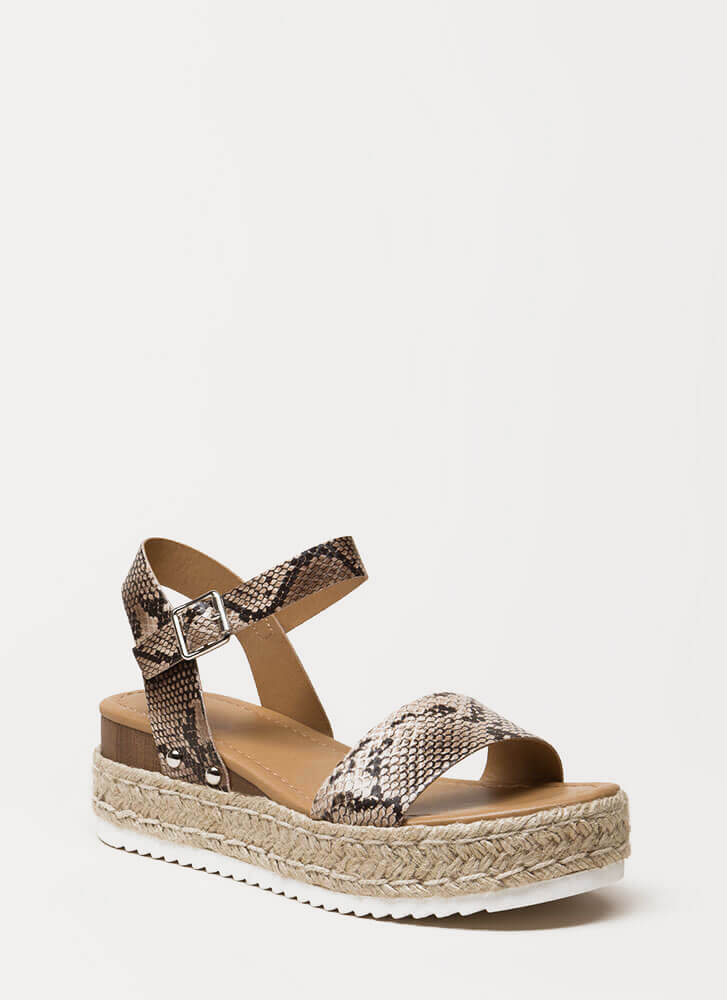 Snake-out Braided Trim Platform Sandals NATURAL