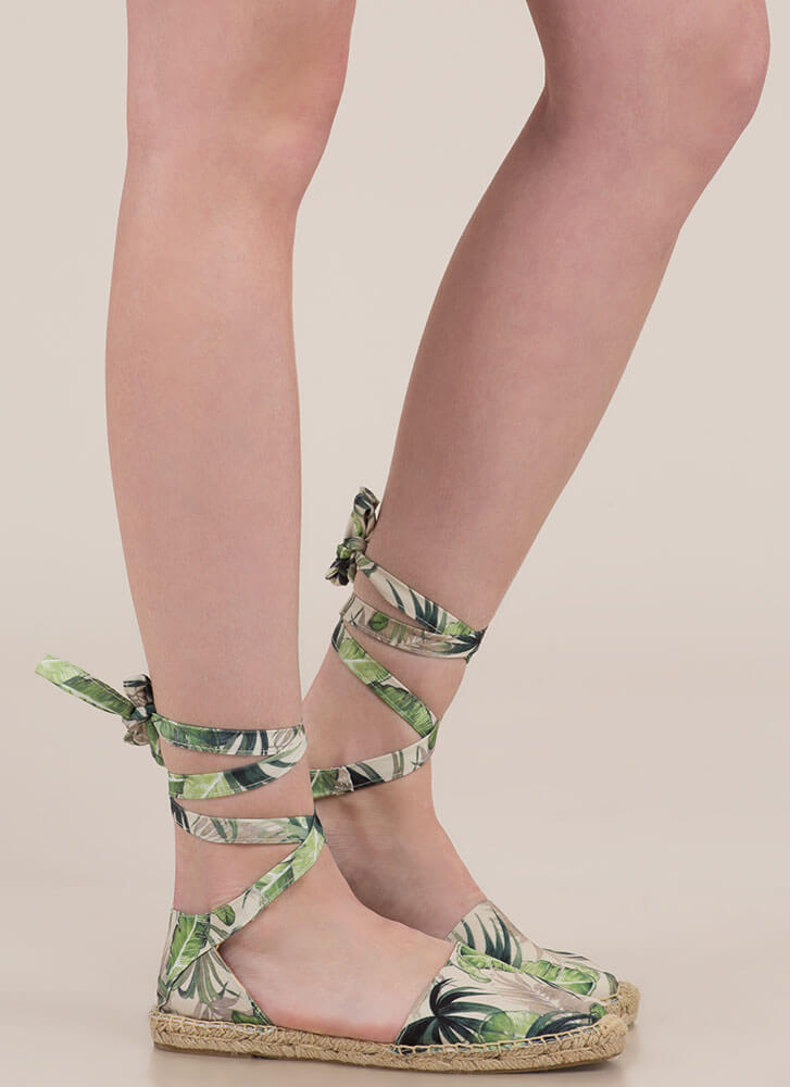 Palms Away Tropical Lace-Up Flats GREEN