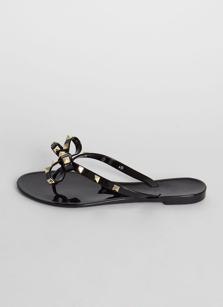 Bow-tiful Studded Jelly Thong Sandals BLACK