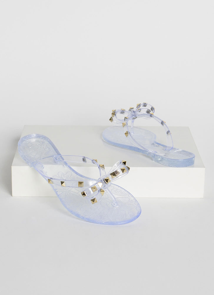 Bow-tiful Studded Jelly Thong Sandals CLEAR