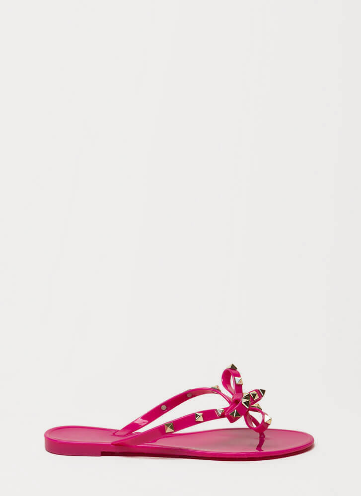 Bow-tiful Studded Jelly Thong Sandals MAGENTA