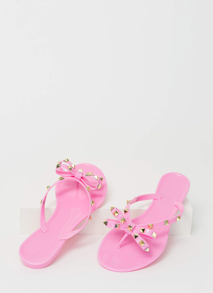 Bow-tiful Studded Jelly Thong Sandals PINK