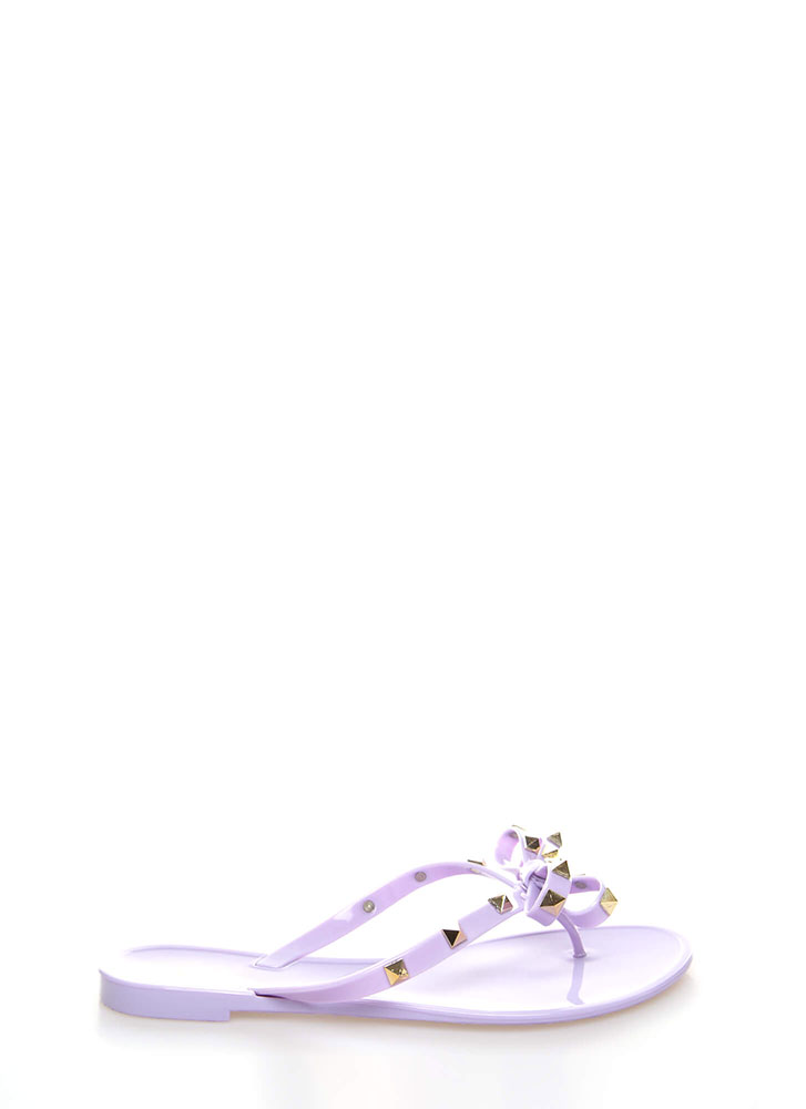 d79253d0129c Bow-tiful Studded Jelly Thong Sandals SILVER WHITE MAGENTA YELLOW ...