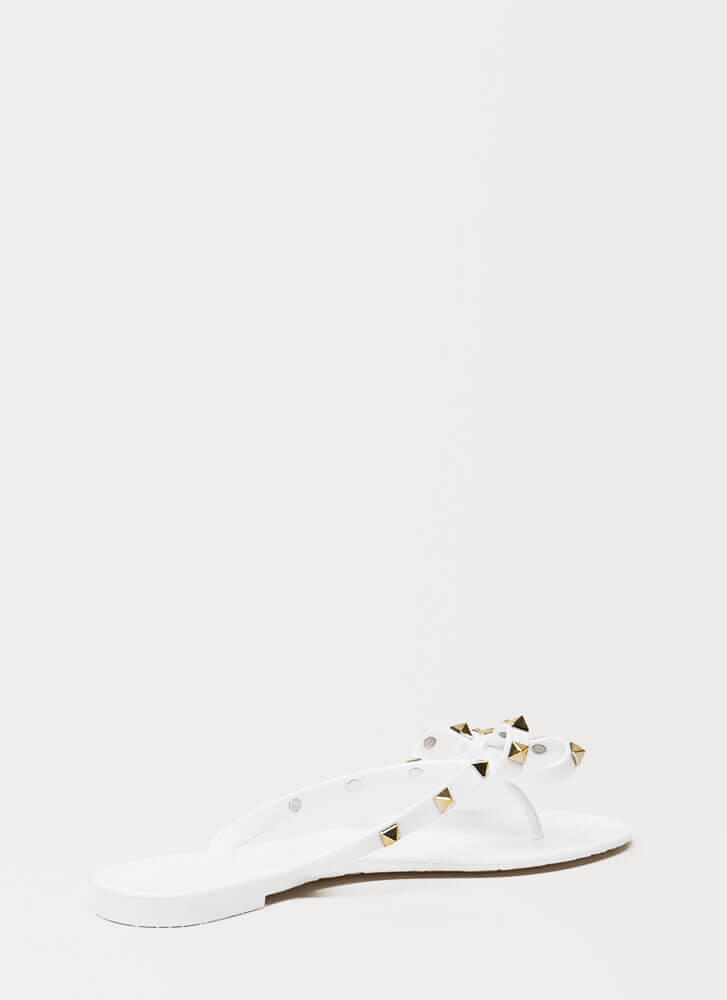 Bow-tiful Studded Jelly Thong Sandals WHITE