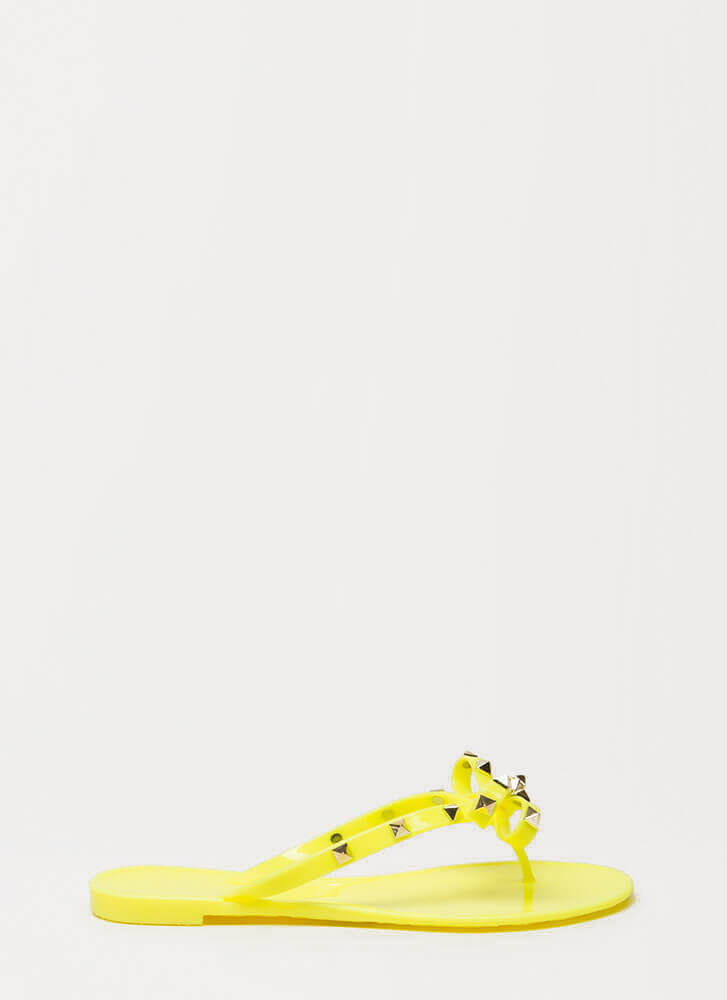 Bow-tiful Studded Jelly Thong Sandals YELLOW