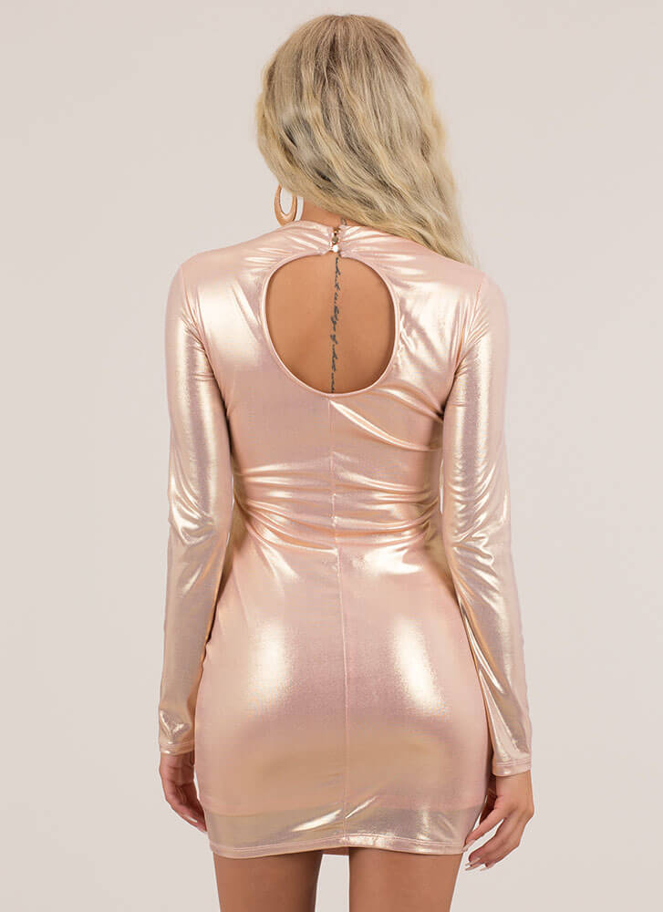 So Much Shimmer Metallic Minidress ROSEGOLD