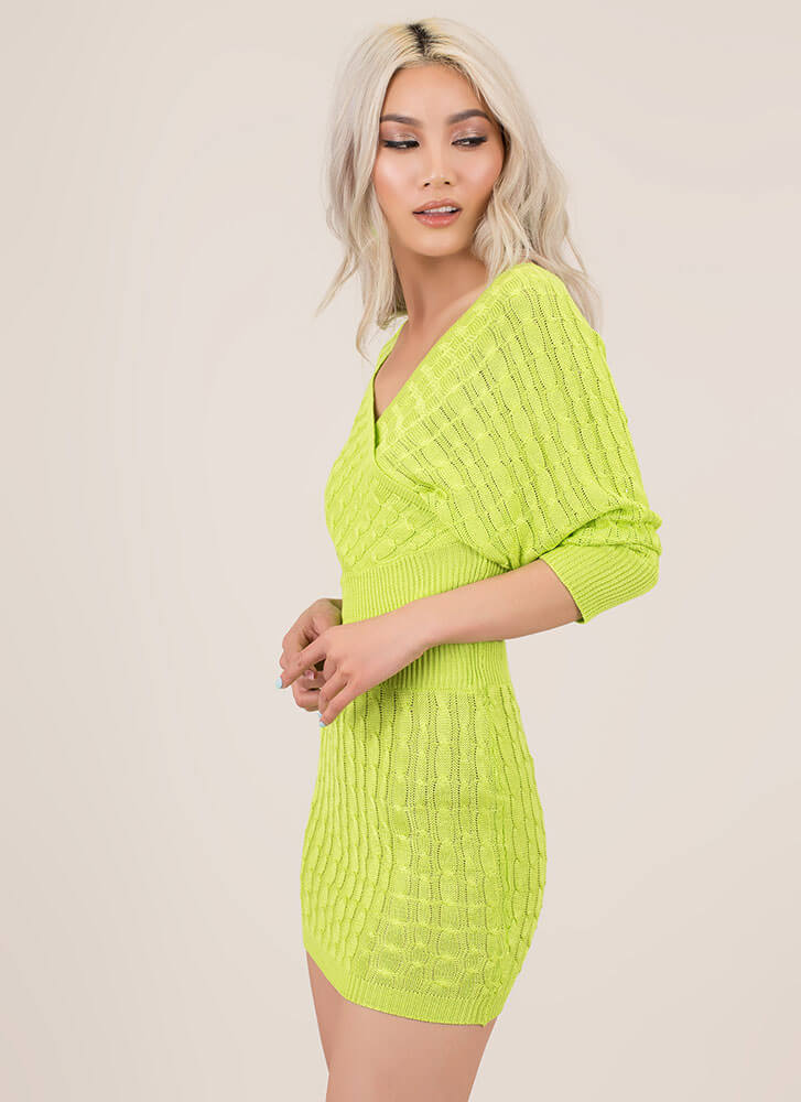 Cute Sweater Cable Knit 2-Piece Dress LIME