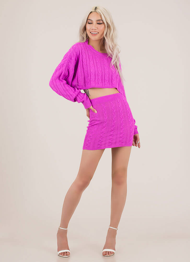 Premium Cable Knit Top And Skirt Set PURPLE