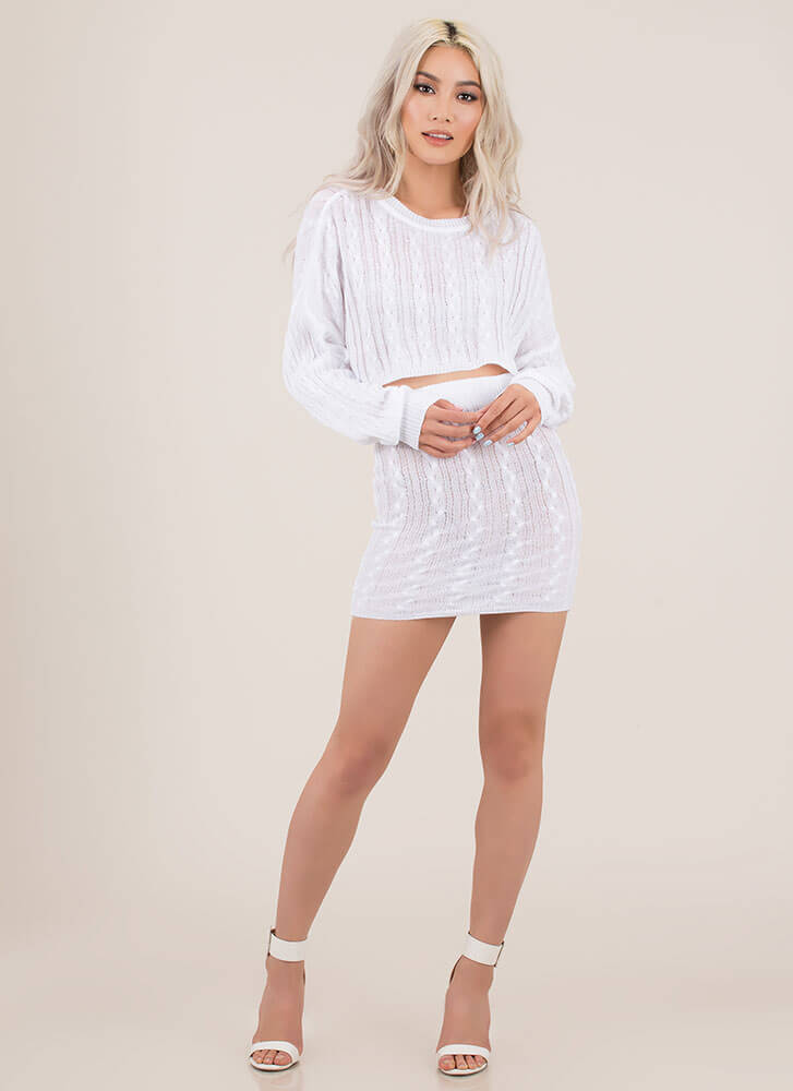 Premium Cable Knit Top And Skirt Set WHITE