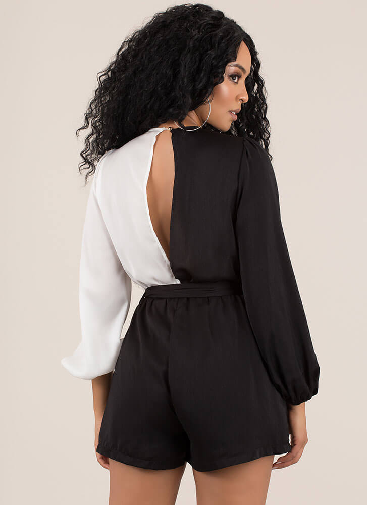 There's Two Sides Colorblock Romper BLACKWHITE