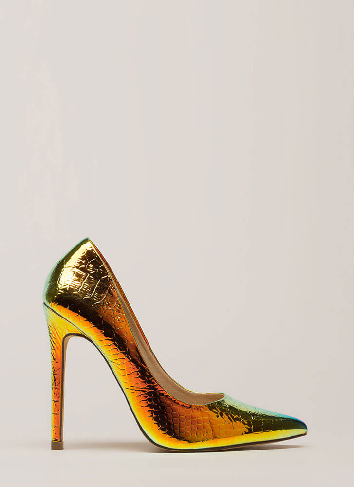 Foiled You Pointy Reptile Scale Pumps SNAKE (Final Sale)