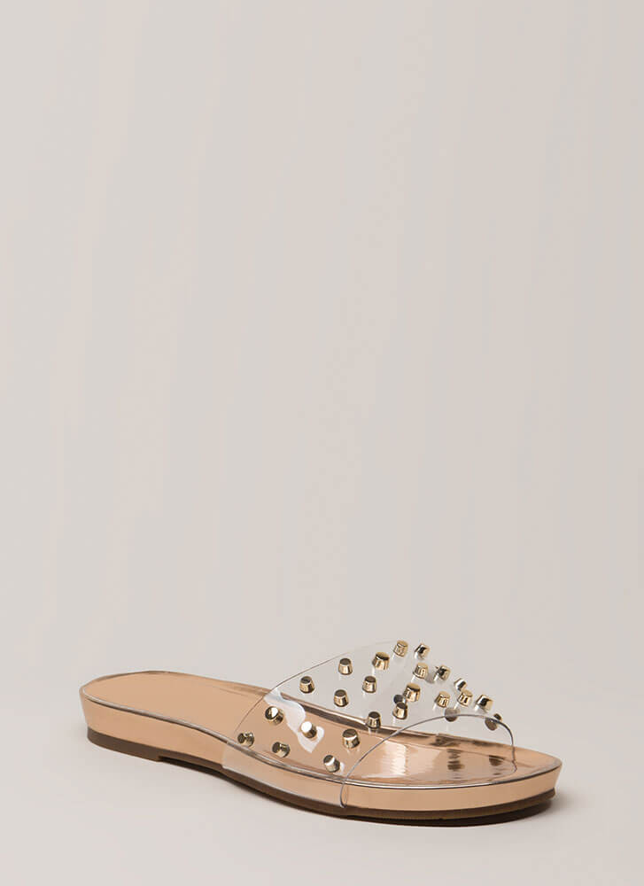 Find The Studs Clear PVC Slide Sandals ROSEGOLD