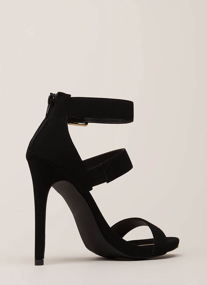 Count To Three Strappy Stiletto Heels BLACK