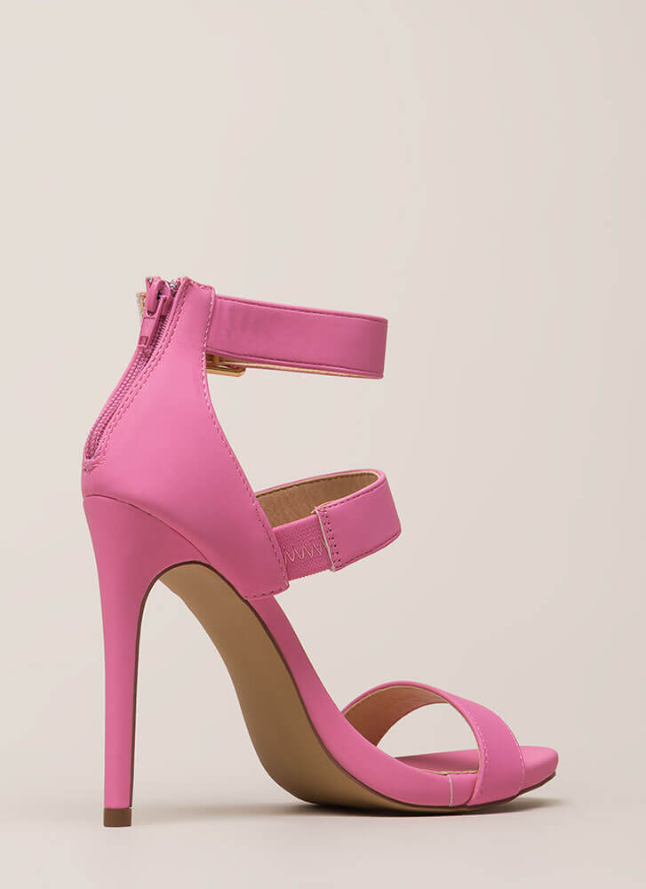 Count To Three Strappy Stiletto Heels PINK