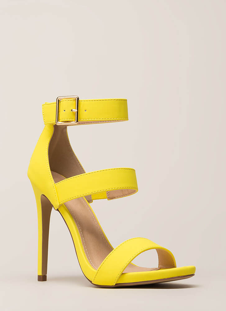 Count To Three Strappy Stiletto Heels YELLOW