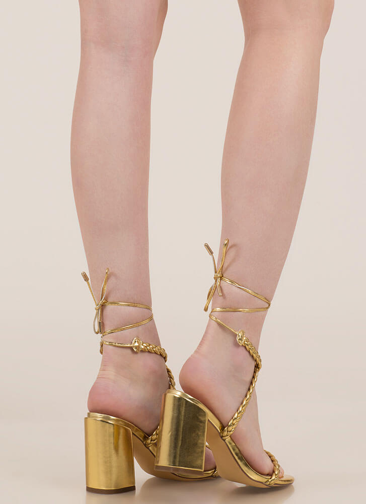 Girl In Braids Lace-Up Block Heels GOLD