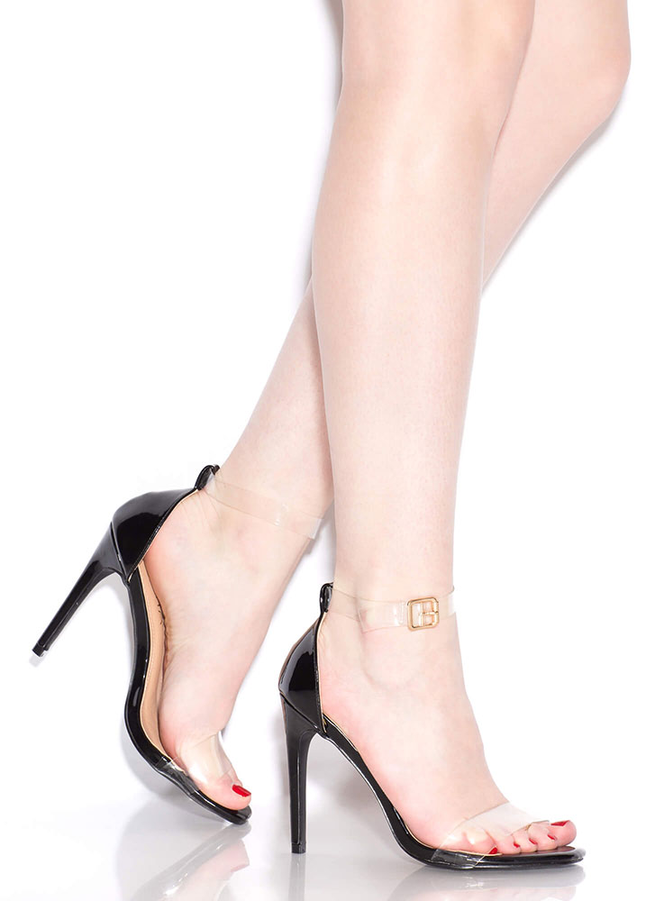 Keep Clear Ankle Strap Illusion Heels BLACK