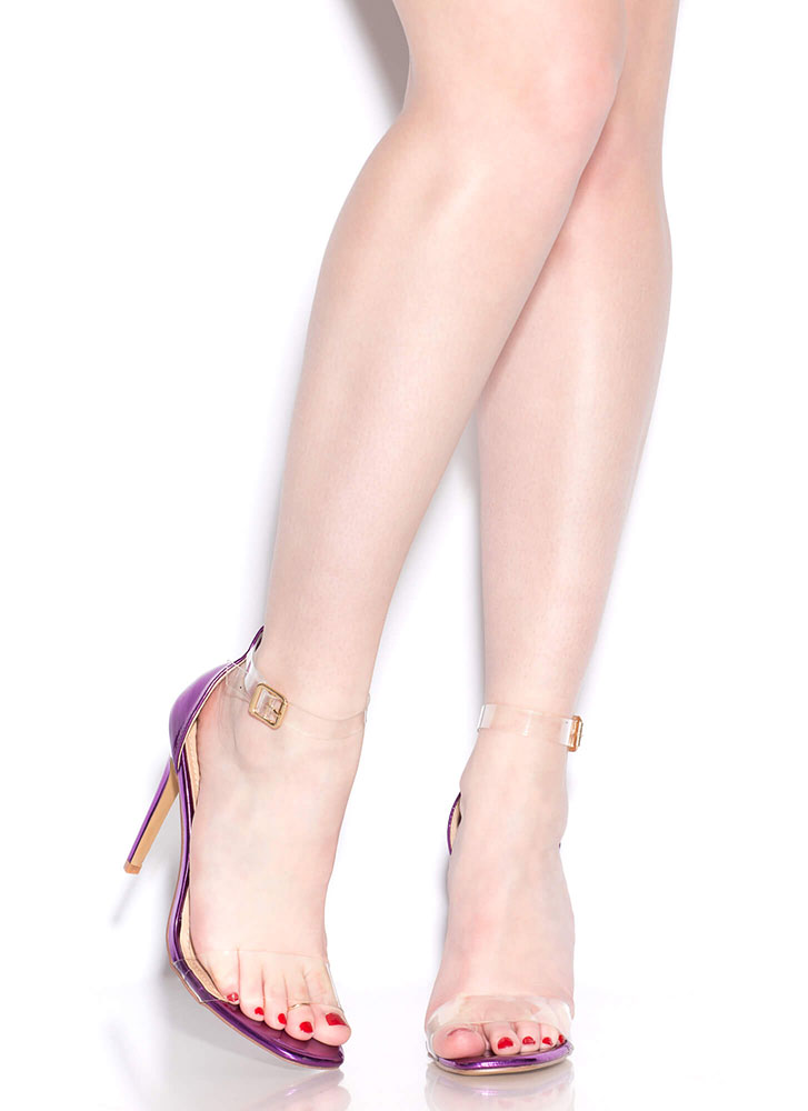 Keep Clear Ankle Strap Illusion Heels FUCHSIA