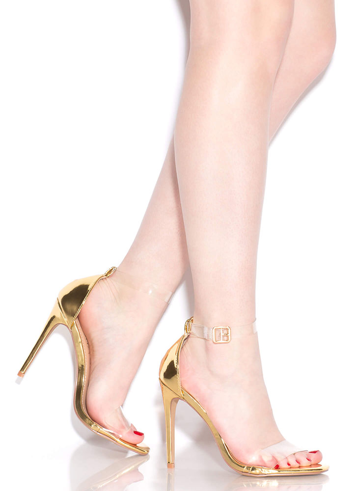 Keep Clear Ankle Strap Illusion Heels GOLD