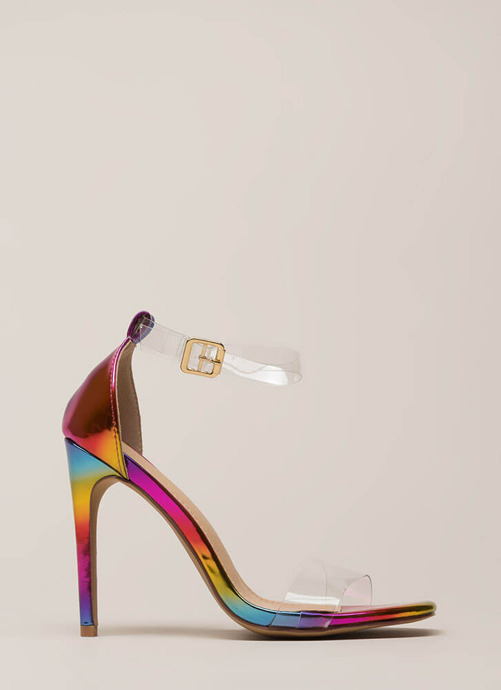 Keep Clear Ankle Strap Illusion Heels RAINBOW