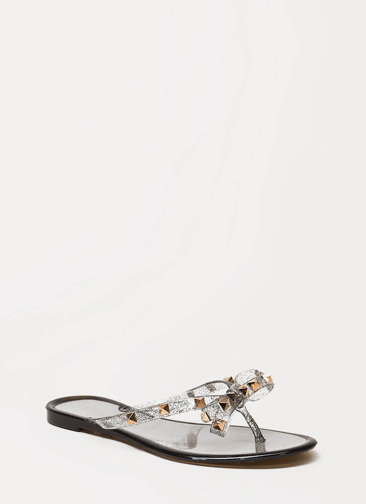 Bow-tiful Studded Glittery Jelly Sandals BLACK