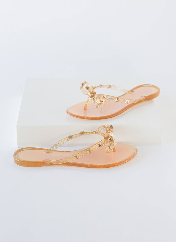 Bow-tiful Studded Glittery Jelly Sandals LTGOLD