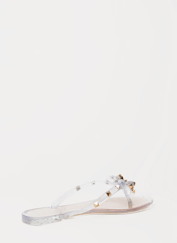 Bow-tiful Studded Glittery Jelly Sandals SILVER
