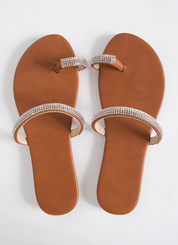 Toes Out Jeweled Strap Sandals COGNAC