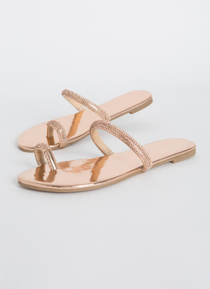 Toes Out Jeweled Strap Sandals ROSEGOLD