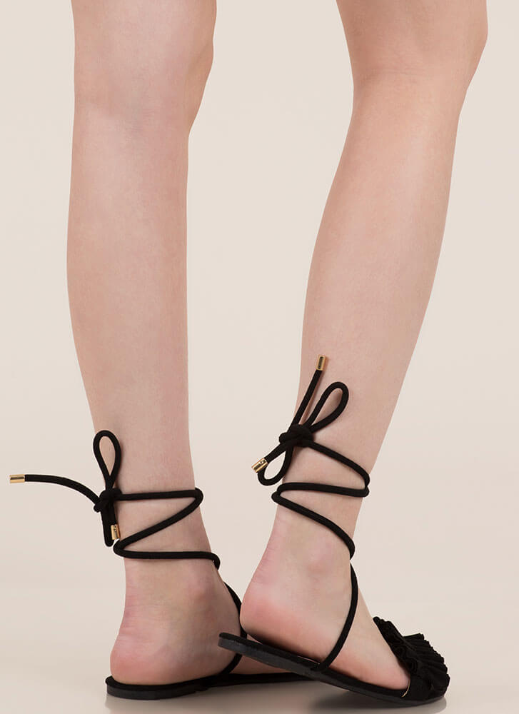Frill Talk Ruffled Lace-Up Sandals BLACK