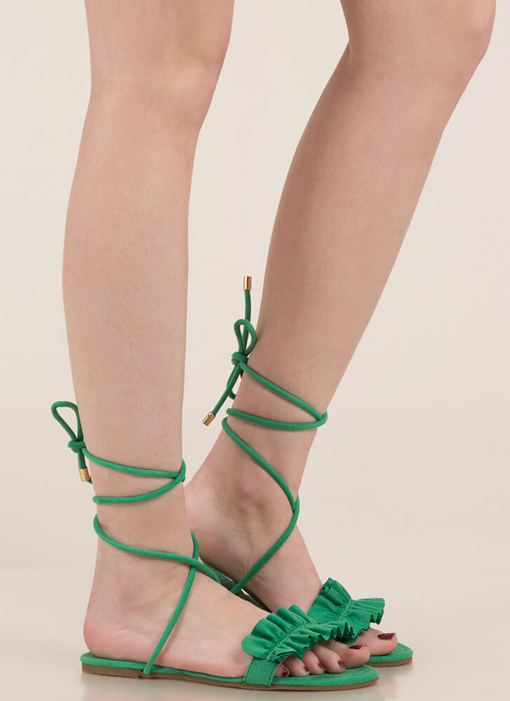 Frill Talk Ruffled Lace-Up Sandals GREEN