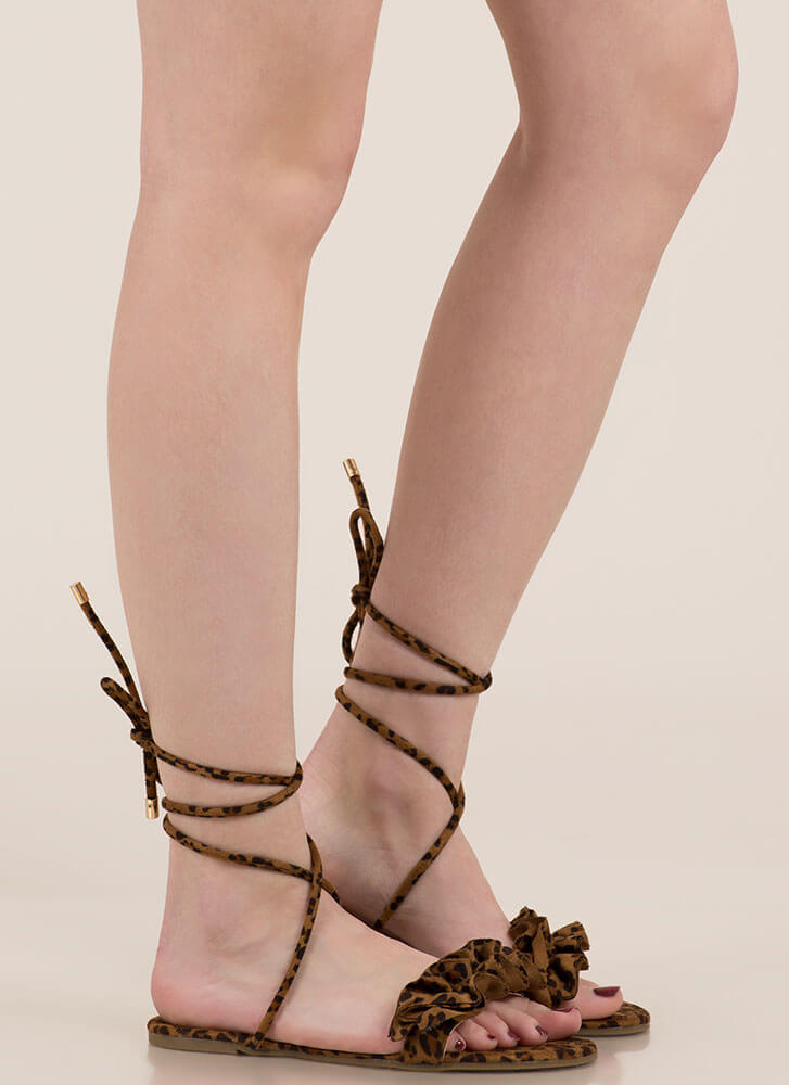 Frill Talk Ruffled Lace-Up Sandals LEOPARD
