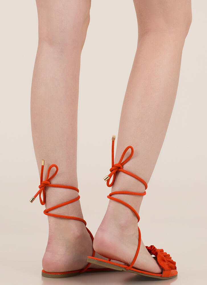Frill Talk Ruffled Lace-Up Sandals ORANGE