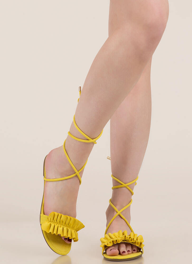 Frill Talk Ruffled Lace-Up Sandals YELLOW