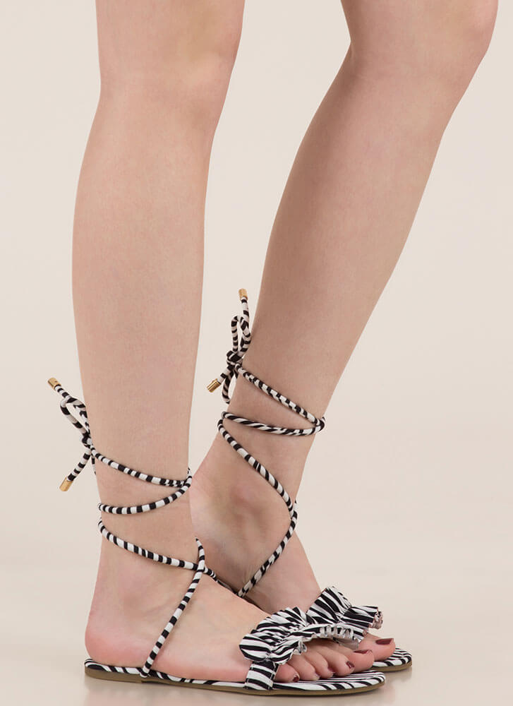 Frill Talk Ruffled Lace-Up Sandals ZEBRA