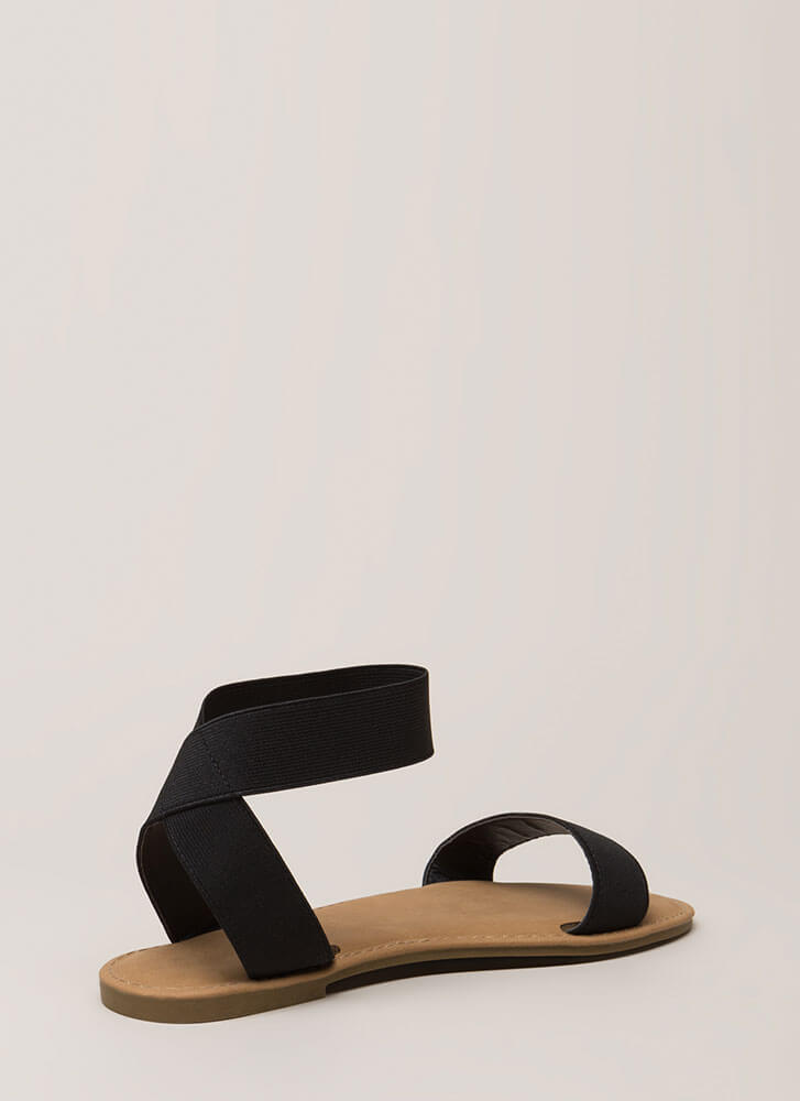 Band Together Strappy Elastic Sandals BLACK