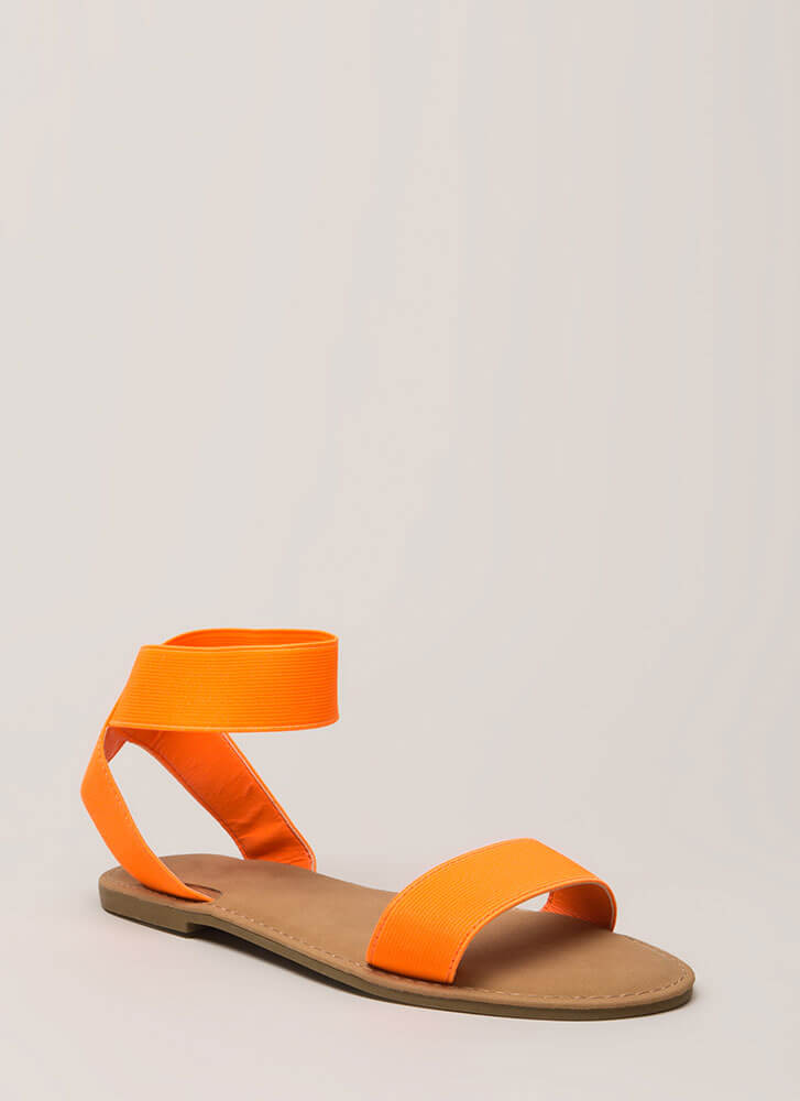 Band Together Strappy Elastic Sandals NEONORANGE